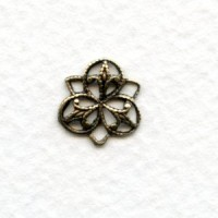 Small Three Petal Connector Filigree Oxidized Brass 11mm (12)