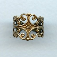Filigree Adjustable Finger Ring Oxidized Brass (1)