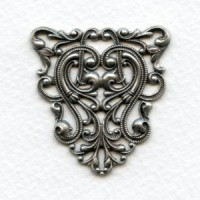 Filigree Ornate Triangle 40mm Stamping Oxidized Silver (1)