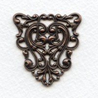Filigree Ornate Triangle 40mm Stamping Oxidized Copper (1)