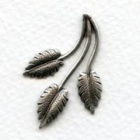 Three Leaf Spray Oxidized Silver Stampings 37mm (6)