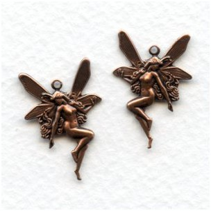 Nude Fairy Charms Right Left Oxidized Copper (6 pairs)
