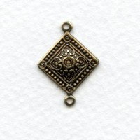 Square Medallion Connector 21mm Oxidized Brass (6)