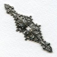 Filigree 68mm Long Narrow Bar Oxidized Silver (1)