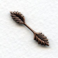 Small Double Leaf Bail Stampings Oxidized Copper 26mm (12)