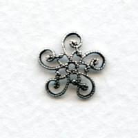 Victorian Flat Filigree Bead Caps Oxidized Silver (12)