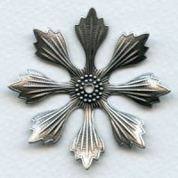 Huge Oxidized Silver Flower Stampings 49mm (3)