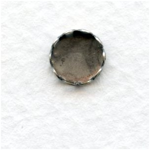 Lace Edge Settings for 7mm Rounds Oxidized Silver (12)