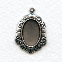 Floral Edge Pendant Setting Oxidized Silver 14x10mm
