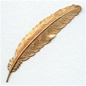 Large Feather Stamping Raw Brass 115mm (1)