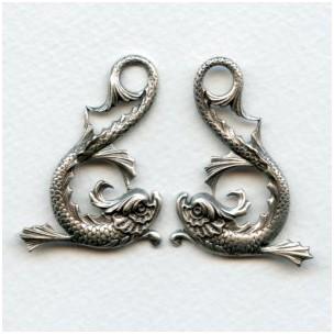 Koi Fish Stampings Oxidized Silver 42mm (1 set)