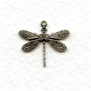 *Victorian Style Dragonfly Pendants Oxidized Silver (12)