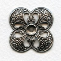 Quatrefoil Openwork Stamping Oxidized Silver 30mm (1)