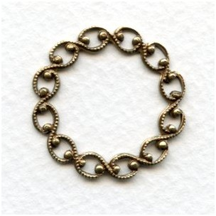 Open Weave Textured Oxidized Brass Circle Details 29mm (6)