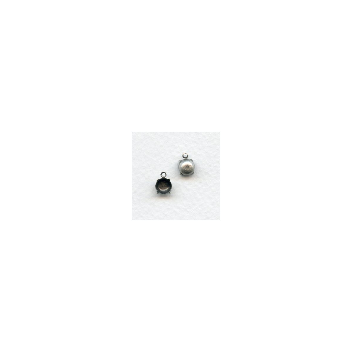 Round 6mm Settings 1 Loop Closed Back Oxidized Silver
