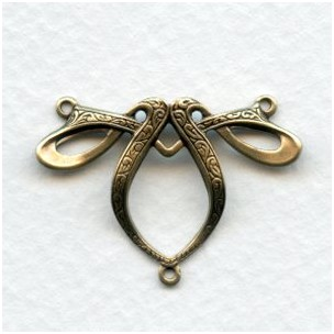 Fancy Ribbon Style 3 Way Connector Oxidized Brass (3)