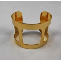 Smooth Wide Cut-Out Cuff Bright Gold Plated 49mm (1)