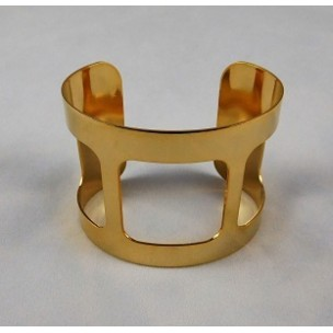 ^Smooth Wide Cut-Out Cuff Bright Gold Plated 49mm (1)