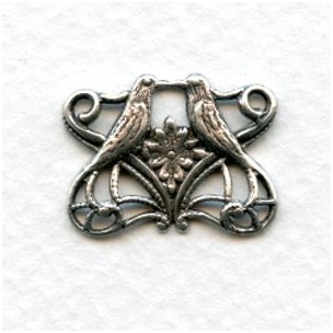 Bird Connectors Victorian Romance Oxidized Silver (6)