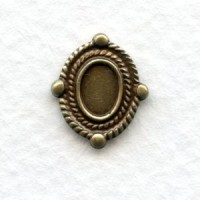 Ornate Oval Solid Oxidized Brass Settings 6x4mm (6)