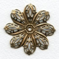 Filigree Flower Oxidized Brass 45mm