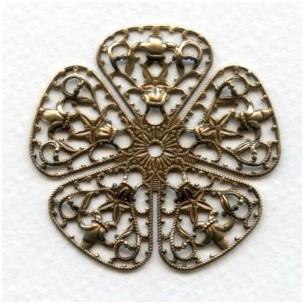 Filigree Flower Shape 50mm Oxidized Brass (1)