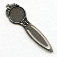 Bookmark Findings with 13mm Setting Oxidized Silver (4)