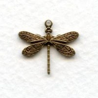 *Victorian Style Dragonfly Pendants Oxidized Brass (12)