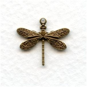 Victorian Style Dragonfly Pendants Oxidized Brass (12)