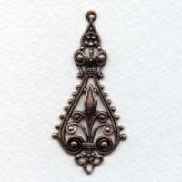 *Filigree Pendant Drops 55mm Oxidized Copper (6)