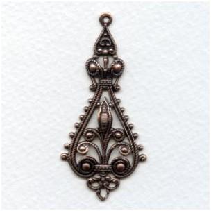 Filigree Pendant Drops 55mm Oxidized Copper (6)