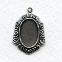 Floral Detail Pendant Setting Oxidized Silver 14x10mm (6)