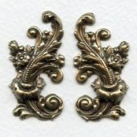 Elaborate Flourishes Oxidized Brass 42mm (1 pair)