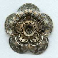 Triple Filigree Flower 47mm Oxidized Brass (1)