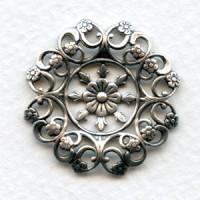 Openwork Floral Details Oxidized Silver 27mm (2)