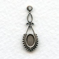 Delicate Pendant Settings in Oxidized Silver 24mm (12)