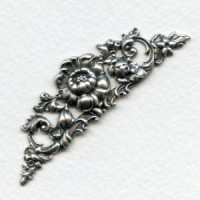 Large Rose Theme 69mm Stamping Oxidized Silver (1)