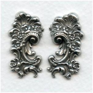 Victorian Detail Flourishes Oxidized Silver 31mm (1 set)