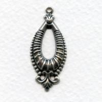 Fabulous Oval Pendants Oxidized Silver 36mm (6)