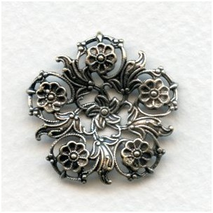 Flowers and Filigree Round Connector Oxidized Silver (3)
