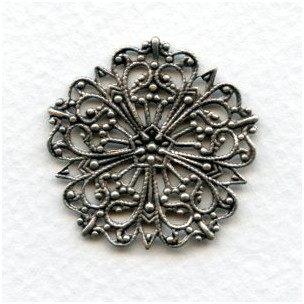 Ornate Round Flat Filigree Oxidized Silver 31mm (3)