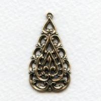 European Openwork Pendant Oxidized Brass