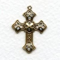 Filigree Cross Pendants Oxidized Brass 26mm (12)