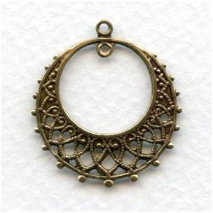 Chandelier Earring Filigree Hoops Oxidized Brass (12)