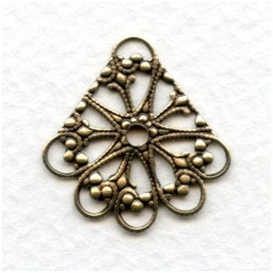 Multi Strand Chandelier Earring Filigree Oxidized Brass (12)