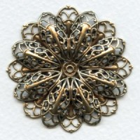 Double Filigree Flower 47mm Oxidized Brass (1)