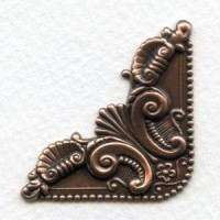 Ornate Corner Flourish Oxidized Copper Stampings (4)