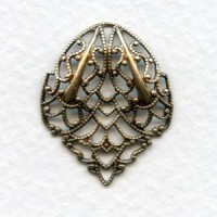 Ornate Filigree Connector Fans 27mm Oxidized Brass (4)