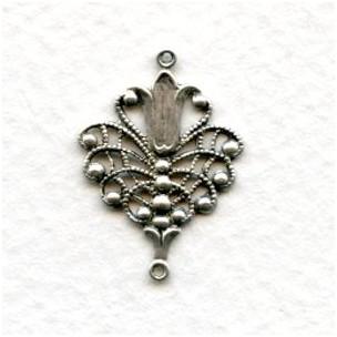 Floral Filigree Connectors Oxidized Silver (6)