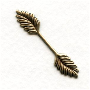 Double Leaf Bail Stamping Oxidized Brass 35mm (12)